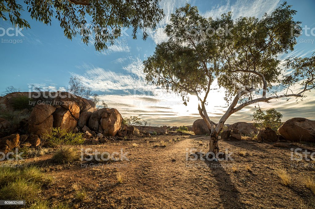 Beautiful Devil's Marbles in Australia's outback stock photo