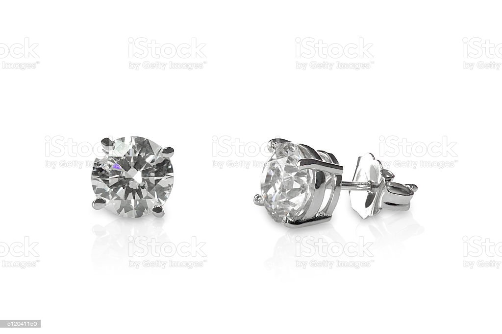 Beautiful Diamond stud earrings stock photo