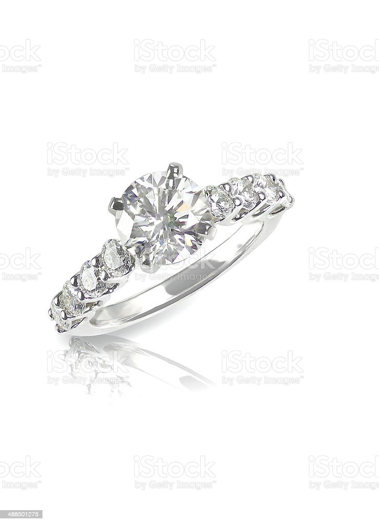 Beautiful diamond wedding engagment band ring solitaire with mul stock photo