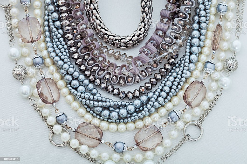 Beautiful different kinds of necklaces in different colors royalty-free stock photo