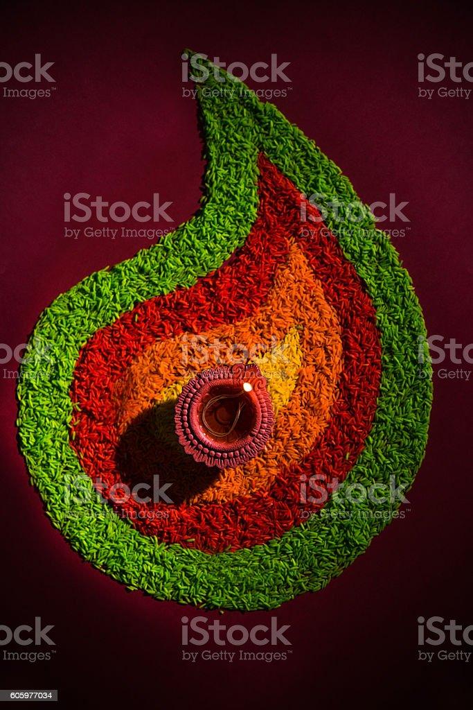 beautiful diwali lighting or diya, selective focus stock photo