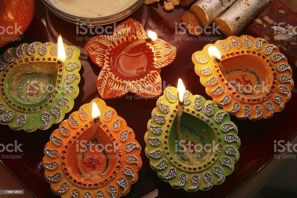 Beautiful Diwali Thali stock photo