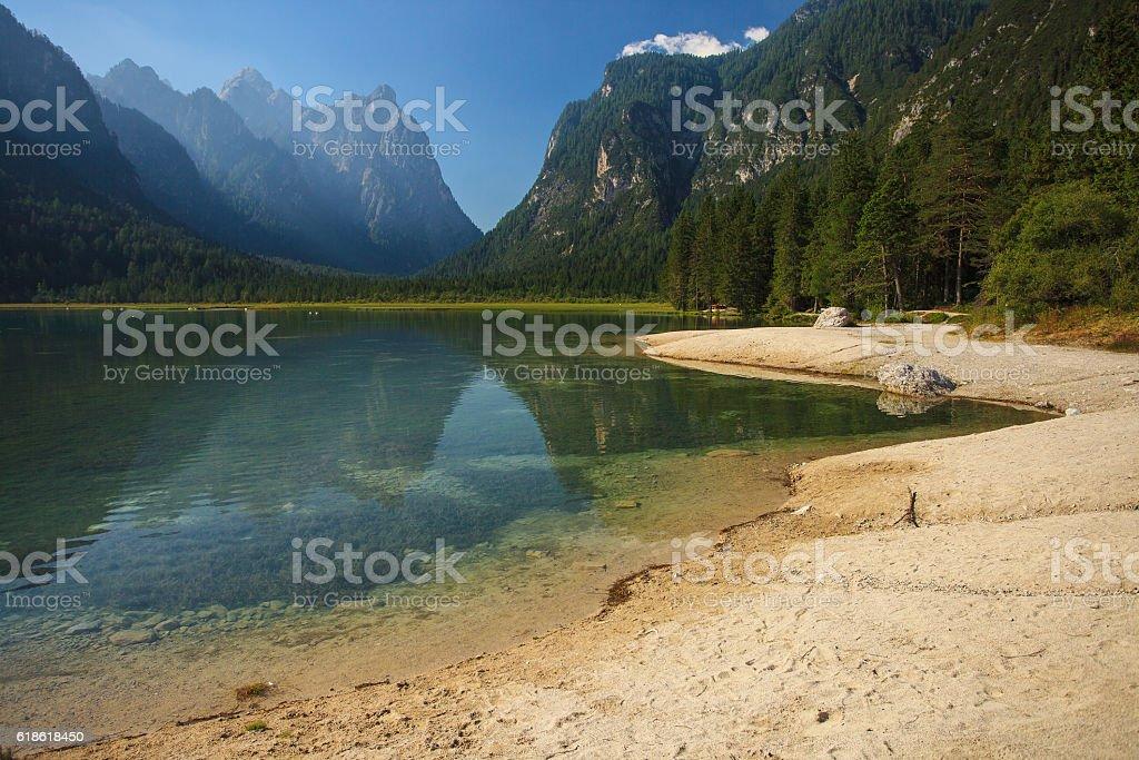 Beautiful Dobbiaco lake stock photo