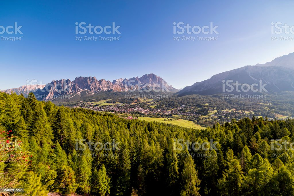 Beautiful dolomites village Cortina d'ampezzo stock photo