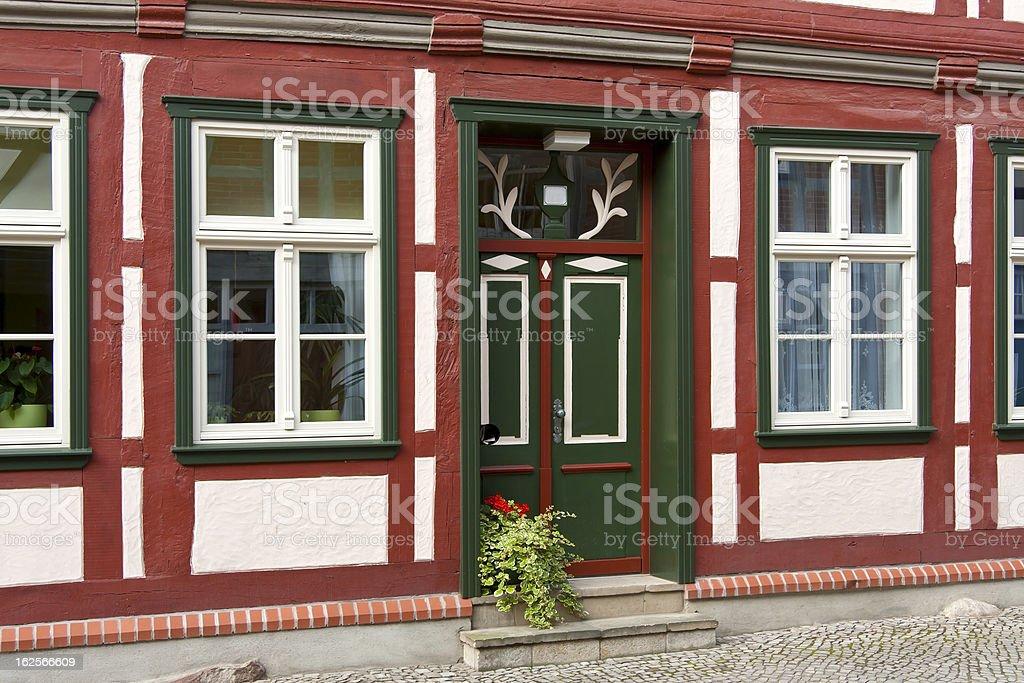 Beautiful Door in Timber Framing stock photo