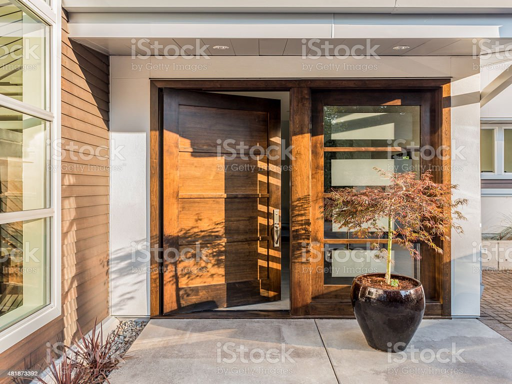 Beautiful Doorway To New Luxury Home stock photo