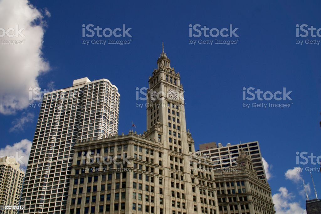Beautiful Downtown Chicago - Along the Magnificent Mile stock photo
