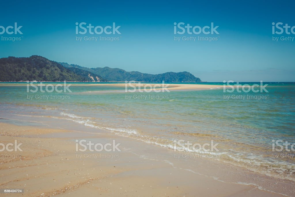 Beautiful dreamy ocean landscape with clear turquoise ocean water stock photo