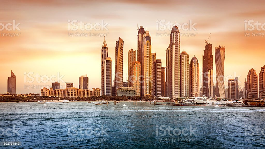 Beautiful Dubai cityscape stock photo
