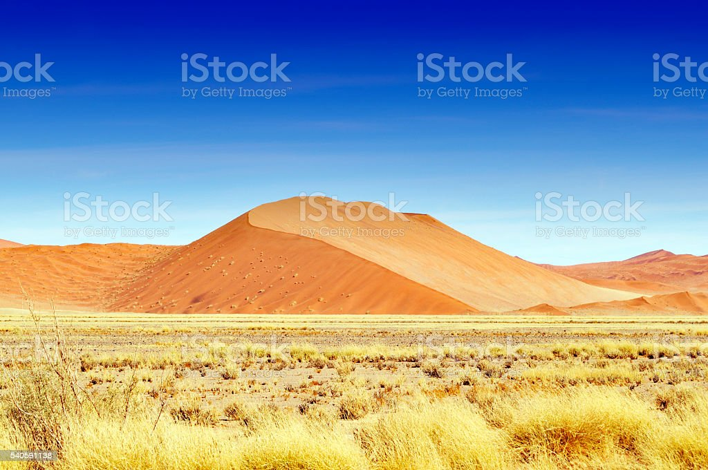 Beautiful dune  landscape with clear sky near Sossusvlei,Namibia stock photo
