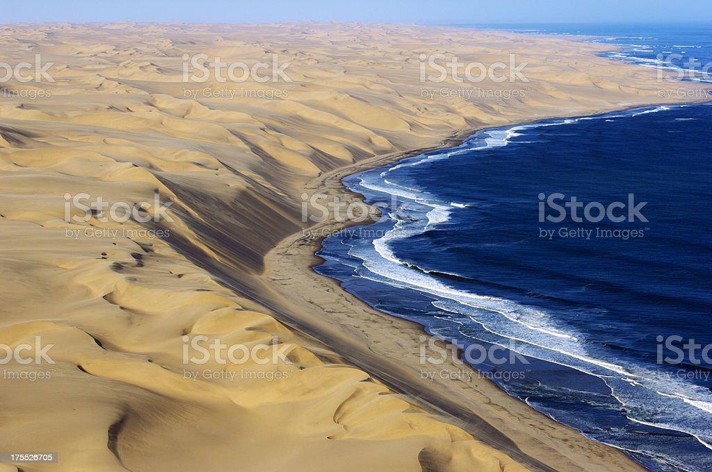 Beautiful Dunes from Namib desert and the Atlantic Ocean stock photo