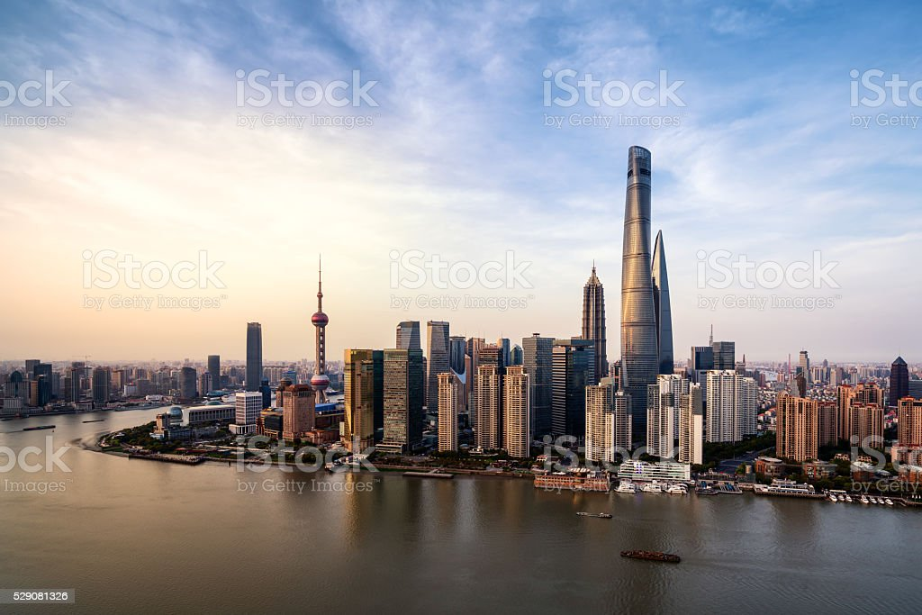 beautiful dusk scene of shanghai skyline and huangpu river stock photo