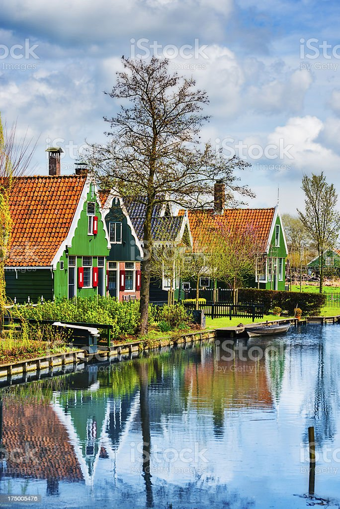 Beautiful Dutch Scene with Traditional Houses by the Canal royalty-free stock photo