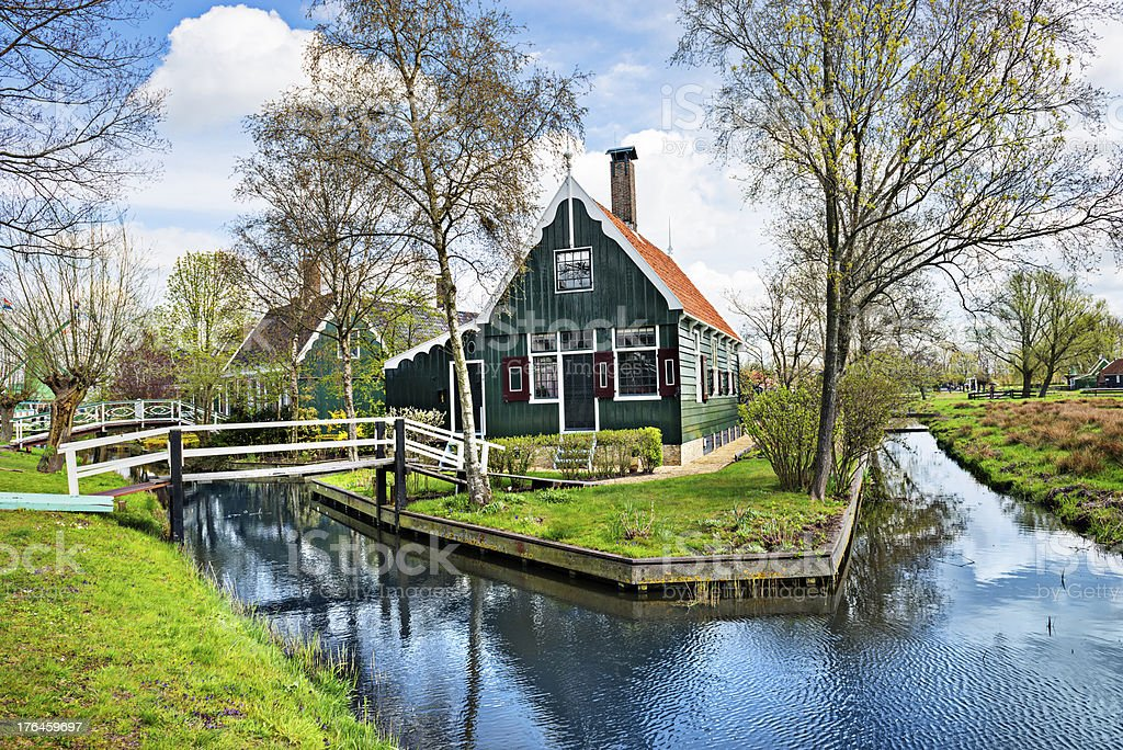 Beautiful Dutch Scene with Traditional Houses by the Canal stock photo