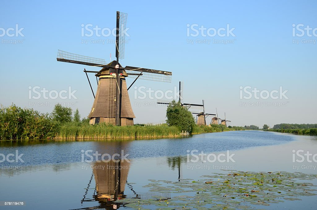 Beautiful dutch windmill landscape at Kinderdijk in the Netherlands stock photo