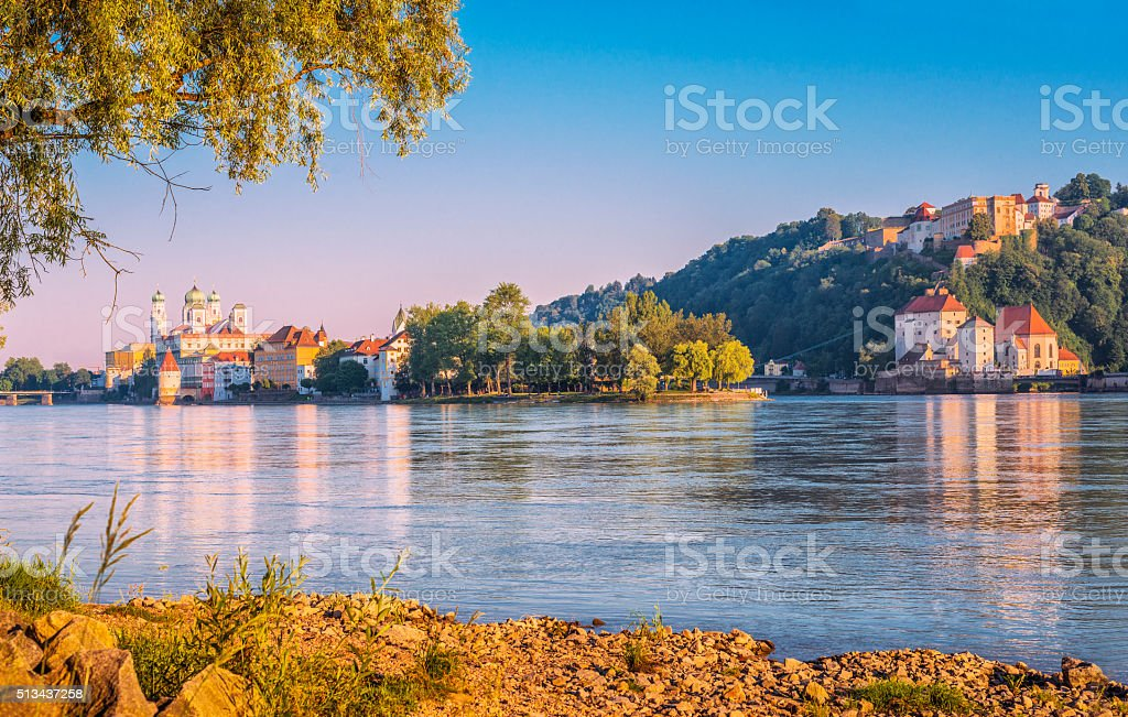 Beautiful early summer morning in Passau stock photo
