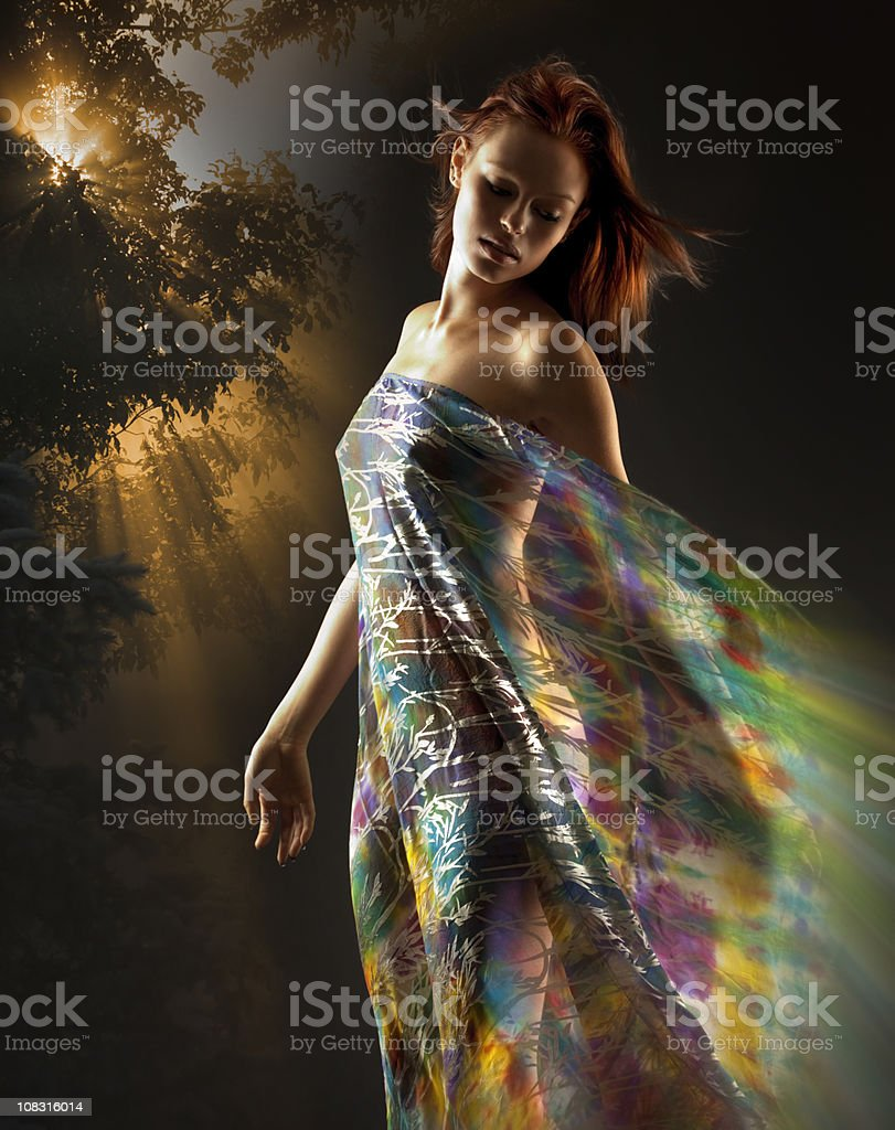 Beautiful Earth Goddess Woman; Mother Nature, Nude Girl, Colorful stock photo