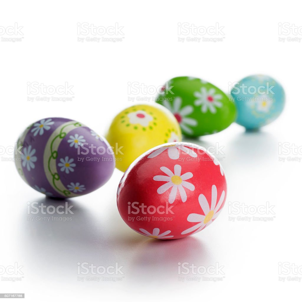 Beautiful Easter Eggs Isolated on a White Background stock photo