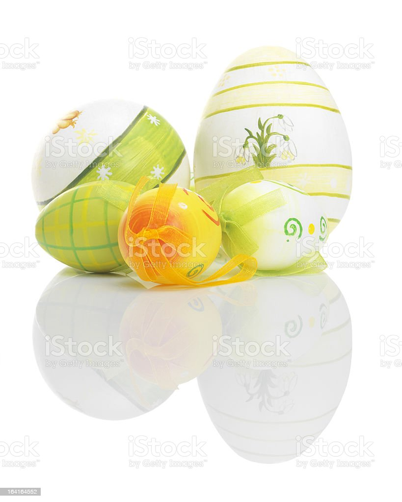 Beautiful Easter Eggs with reflections royalty-free stock photo