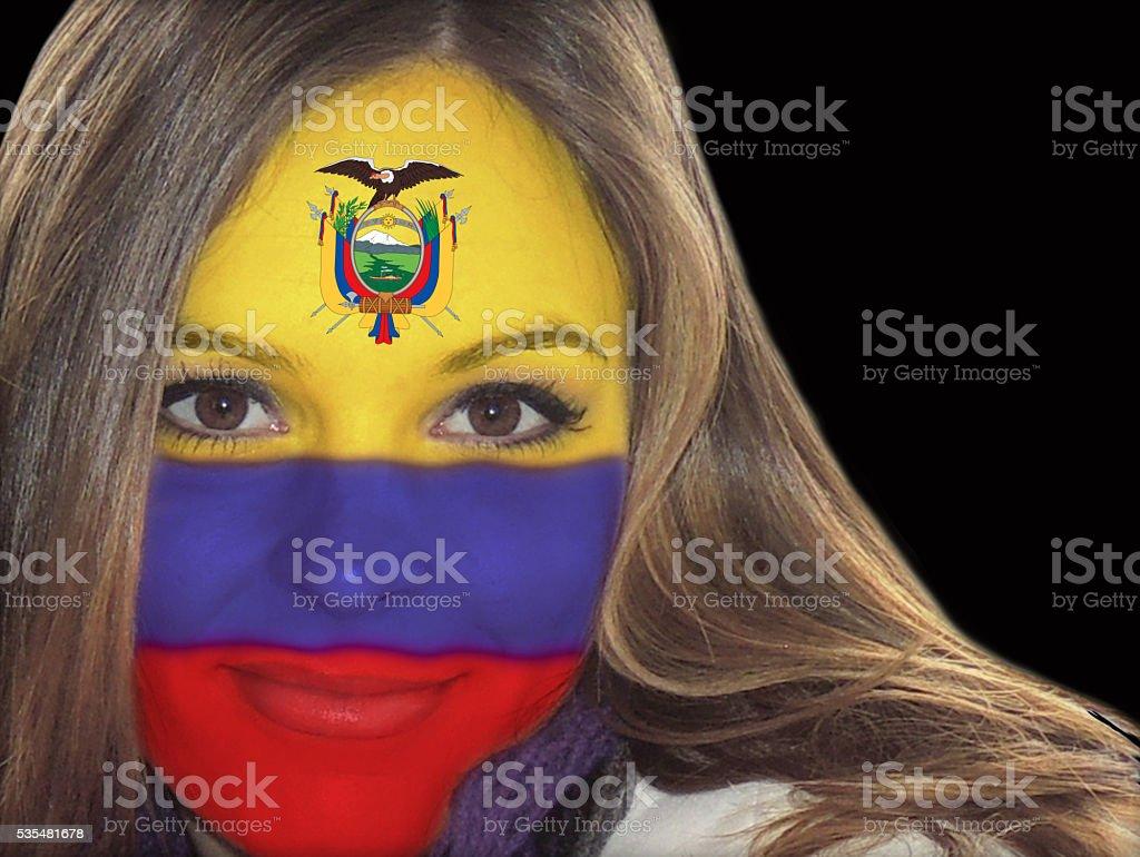 Beautiful Ecuadorian lady fan stock photo