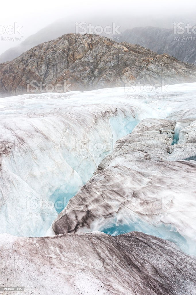 Beautiful eerie landscape on icy glacier stock photo