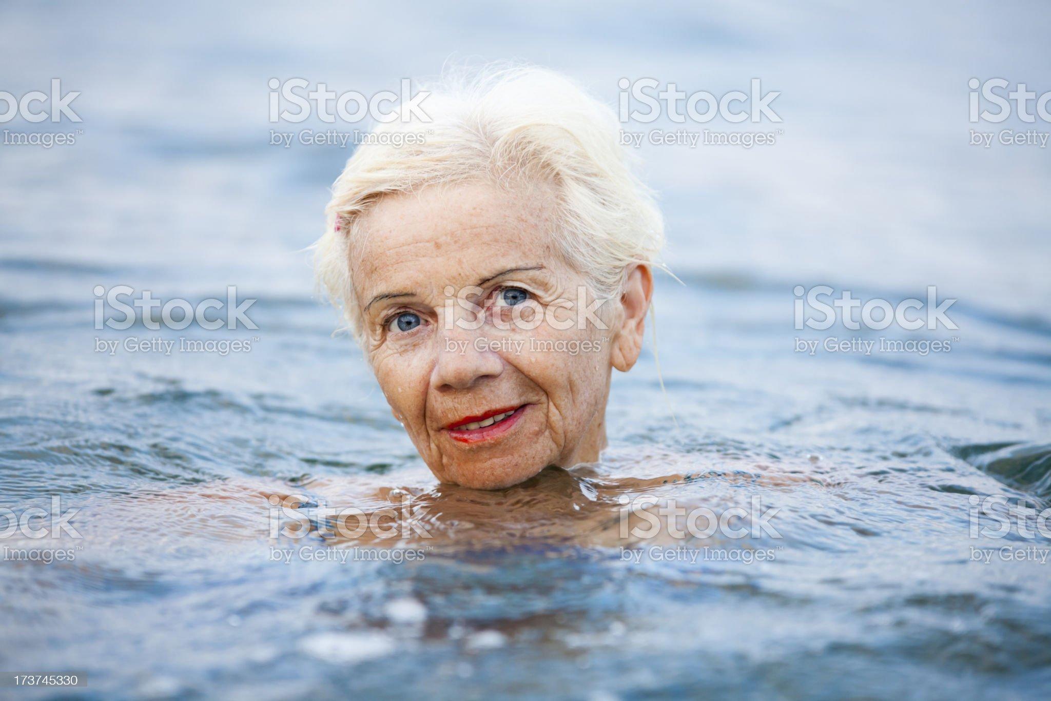 Beautiful Elderly Swimmer royalty-free stock photo