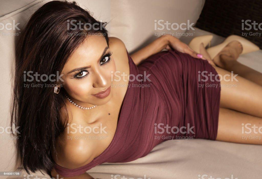 Beautiful elegant woman in dress stock photo