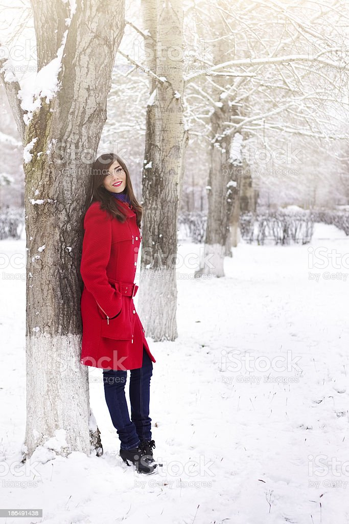 Beautiful elegant woman in red coat stock photo