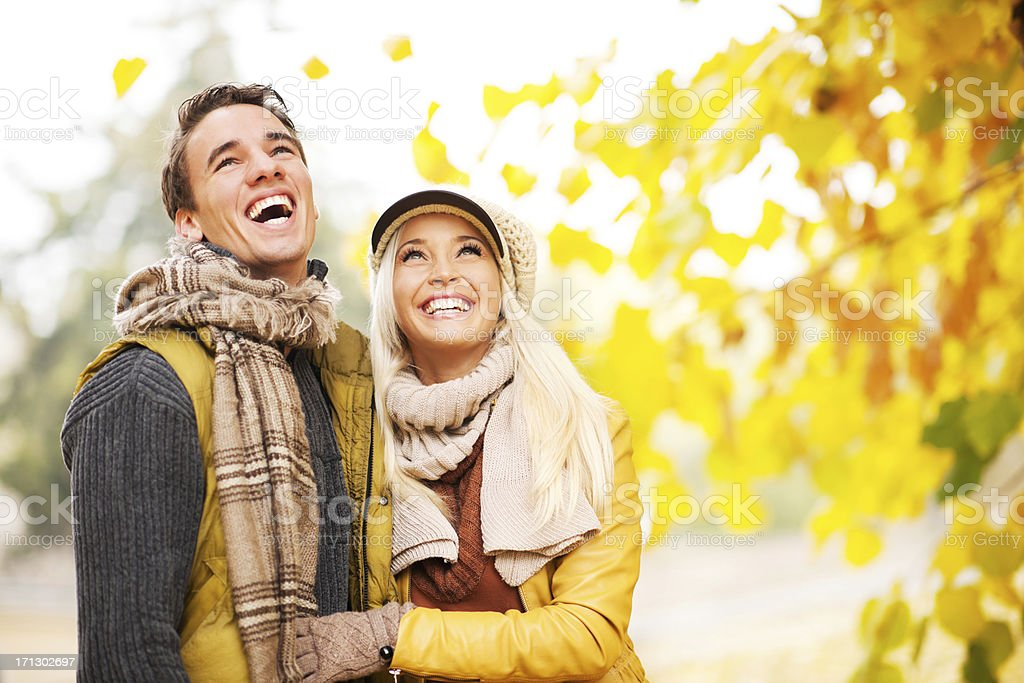 Beautiful embraced couple in the park. royalty-free stock photo