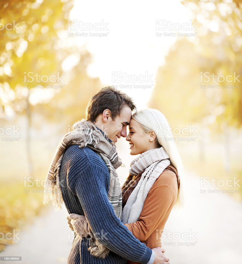 Beautiful embraced couple in the park stock photo