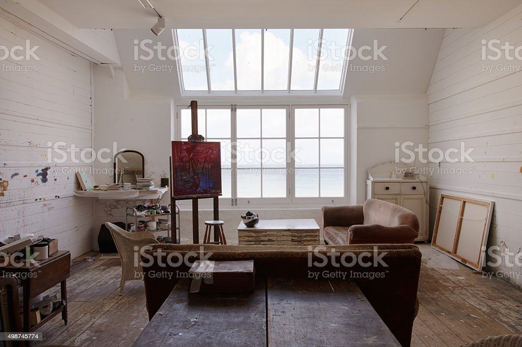 Beautiful Empty Artist's Studio With Bright Natural Light stock photo