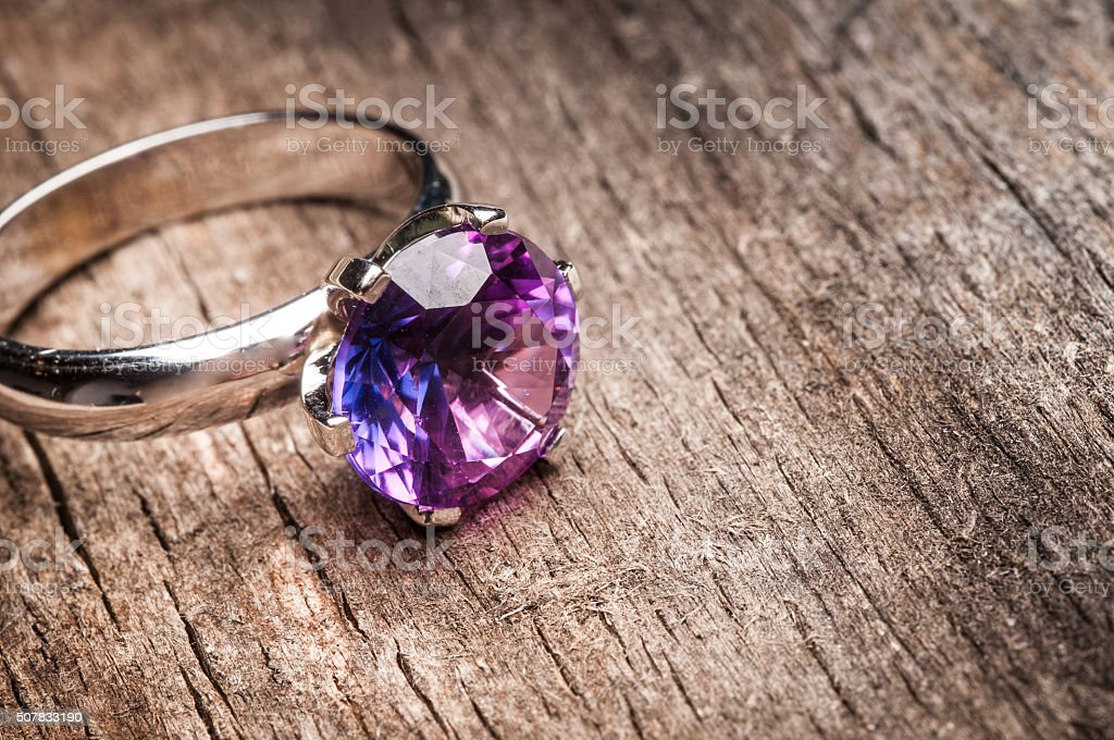 Beautiful engagement ring with gem stock photo
