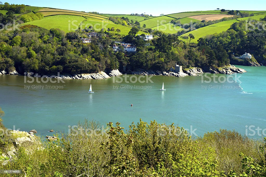 Beautiful English coast in Devon near Fartmouth stock photo