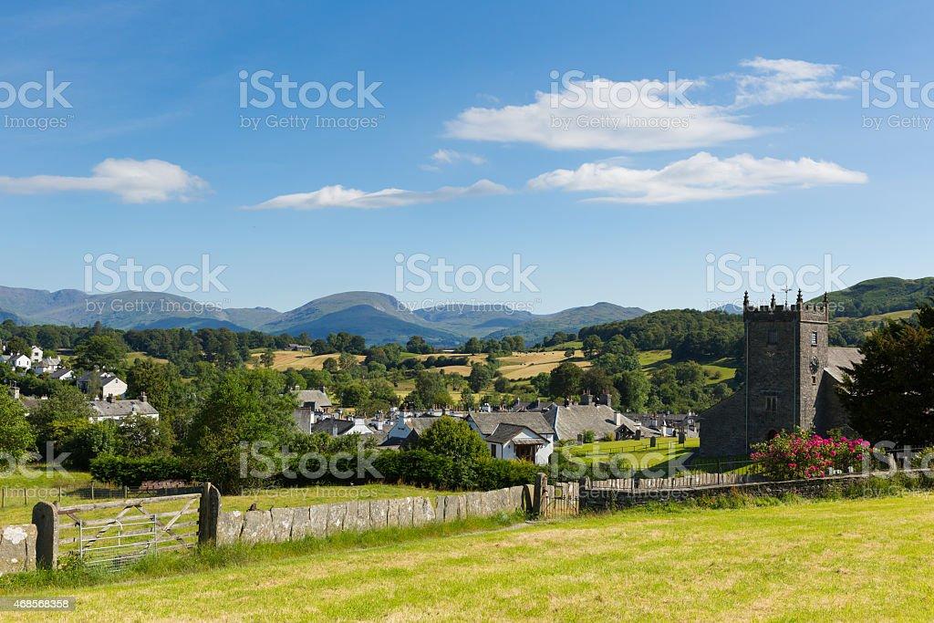 Beautiful English country village Hawkshead Lake District  church and roses stock photo