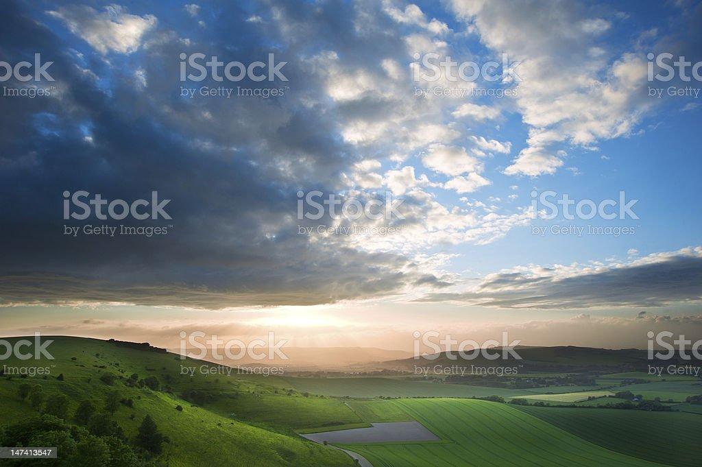 Beautiful English countryside landscape at sdunset stock photo