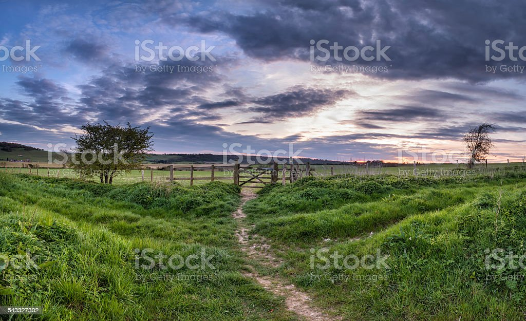 Beautiful English countrysidepanorama  landscape over fields at stock photo