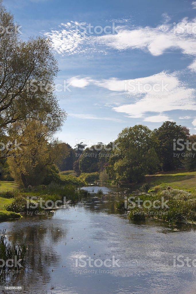 Beautiful English river passing through meadows stock photo