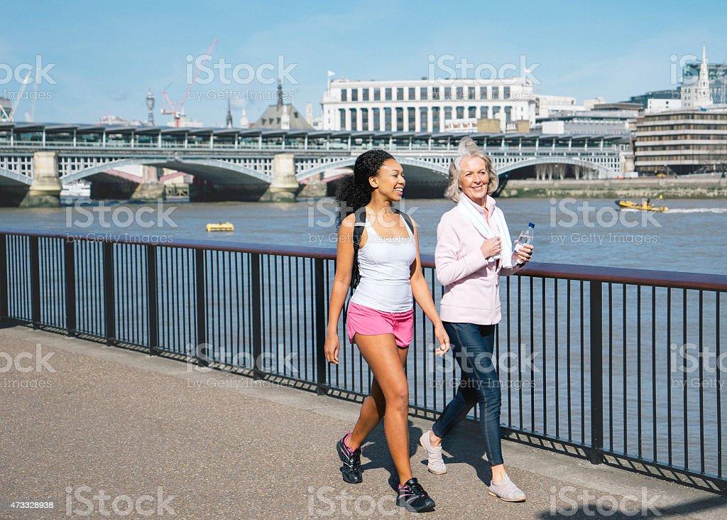 Beautiful English Women Relaxing After workout stock photo