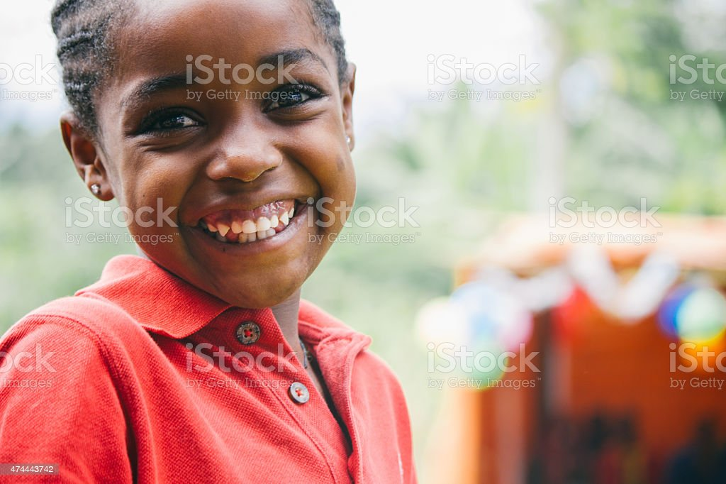 Beautiful ethiopian girl smiling during a party stock photo