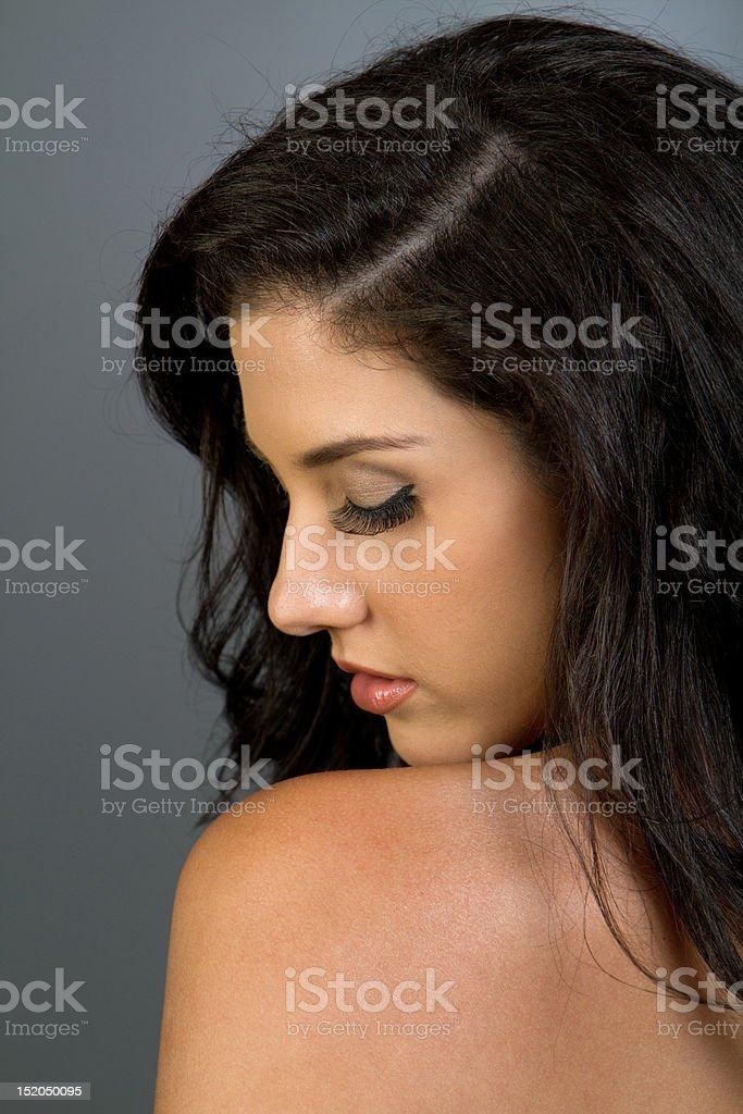 Beautiful ethnic girl with dark hair royalty-free stock photo