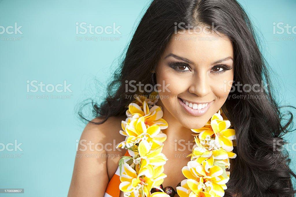 Beautiful Ethnic Woman with Lei stock photo