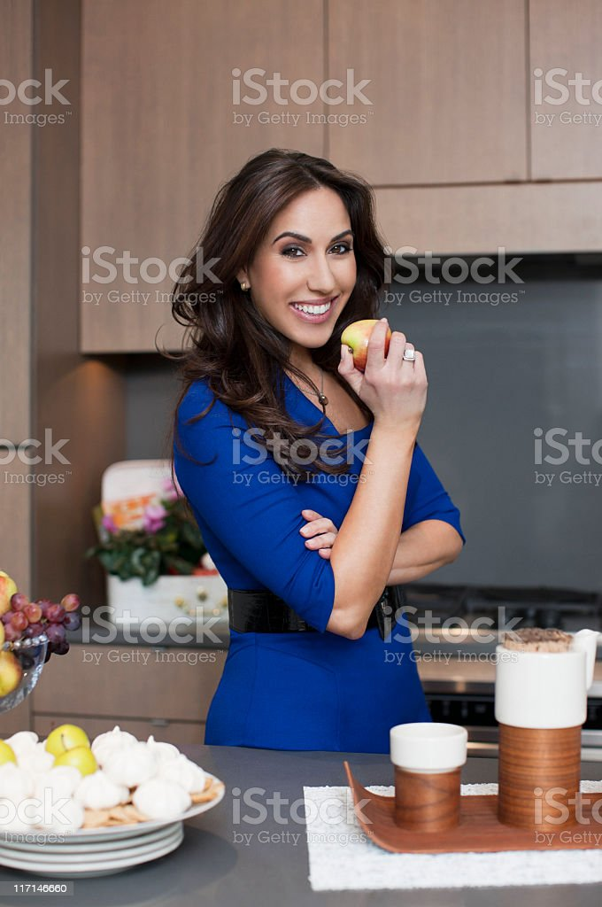 Beautiful Ethnic Young Woman Portrait, Healthy Eating in Home Kitchen royalty-free stock photo