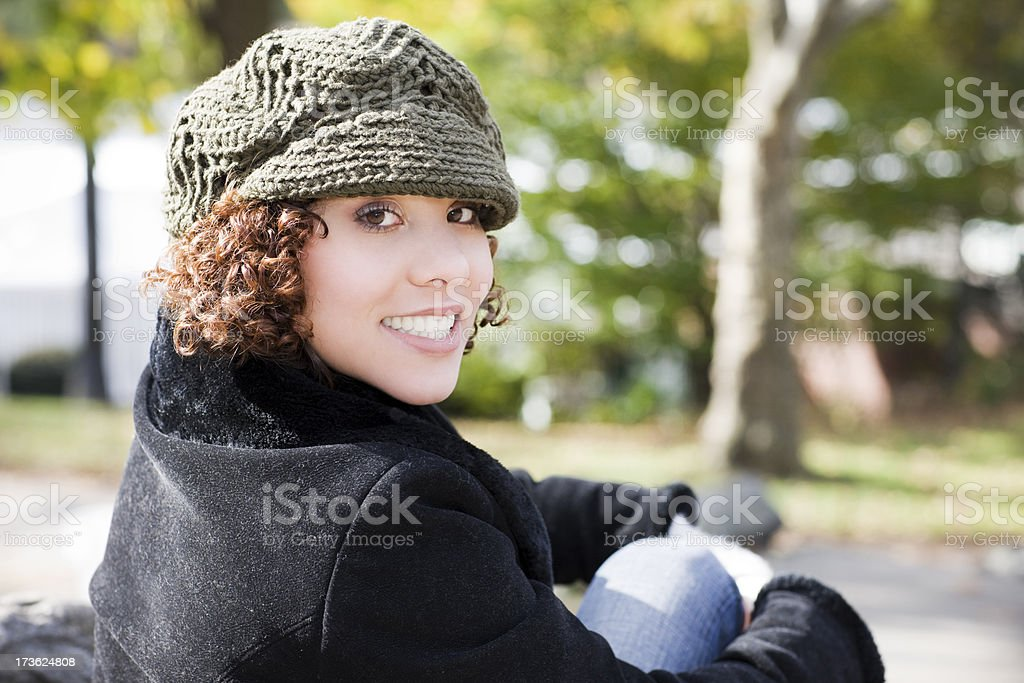 Beautiful Ethnic Young Woman Portrait Outdoors in Sunny Park, Copyspace royalty-free stock photo