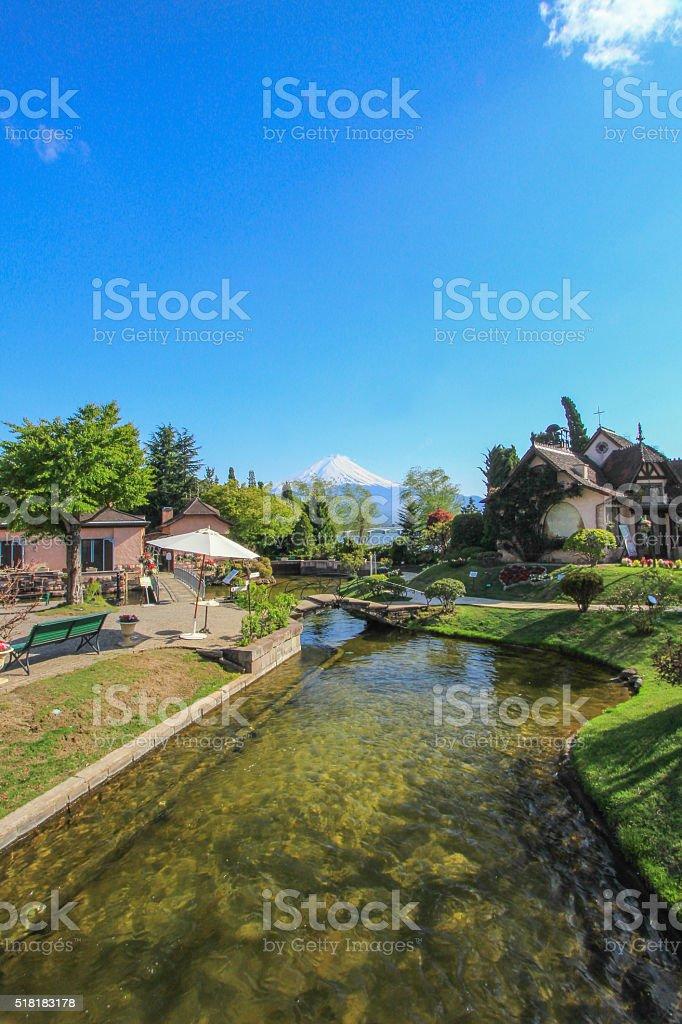 Beautiful european garden scene on sunshine day stock photo