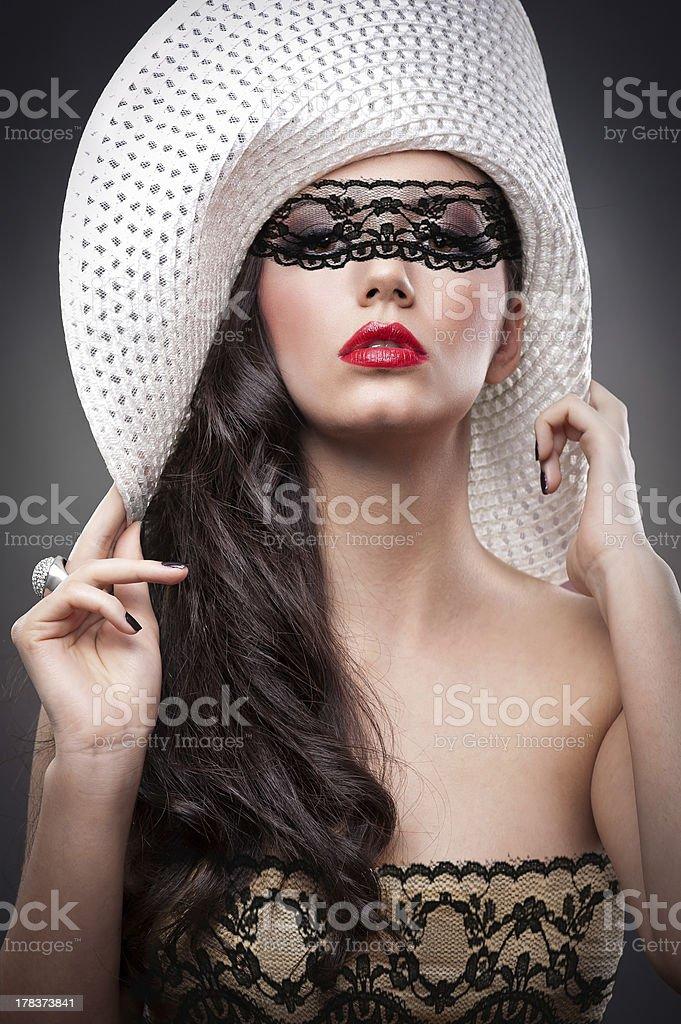 Beautiful European woman lace framing royalty-free stock photo