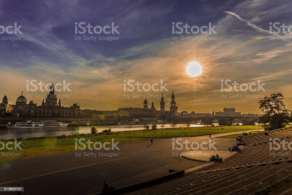 Beautiful evening in Dresden (Saxony Germany) stock photo