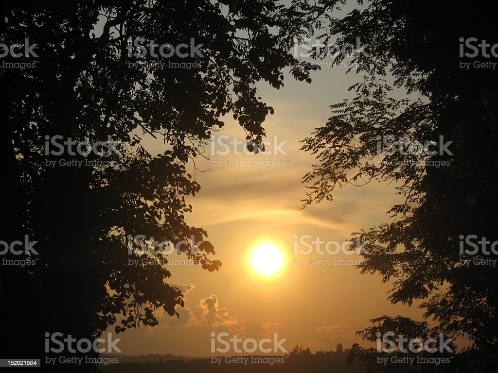beautiful evening sunset at dusk stock photo