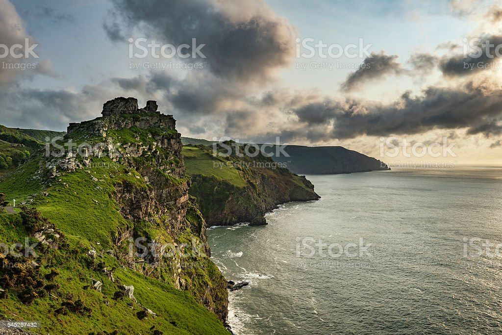Beautiful evening sunset landscape image of Valley of The Rocks stock photo