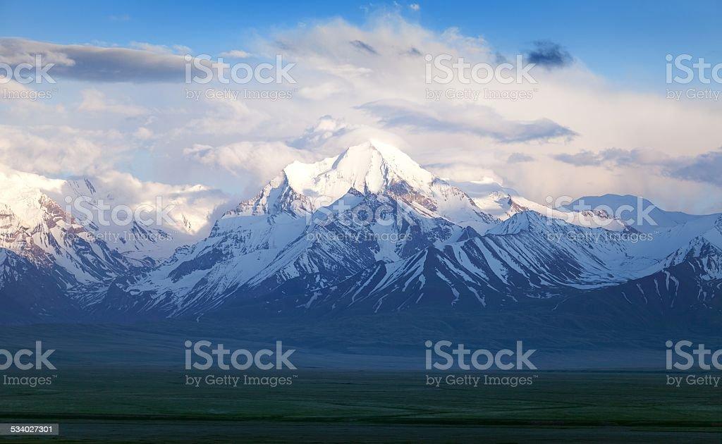 Beautiful evening view from Pamir mountain stock photo