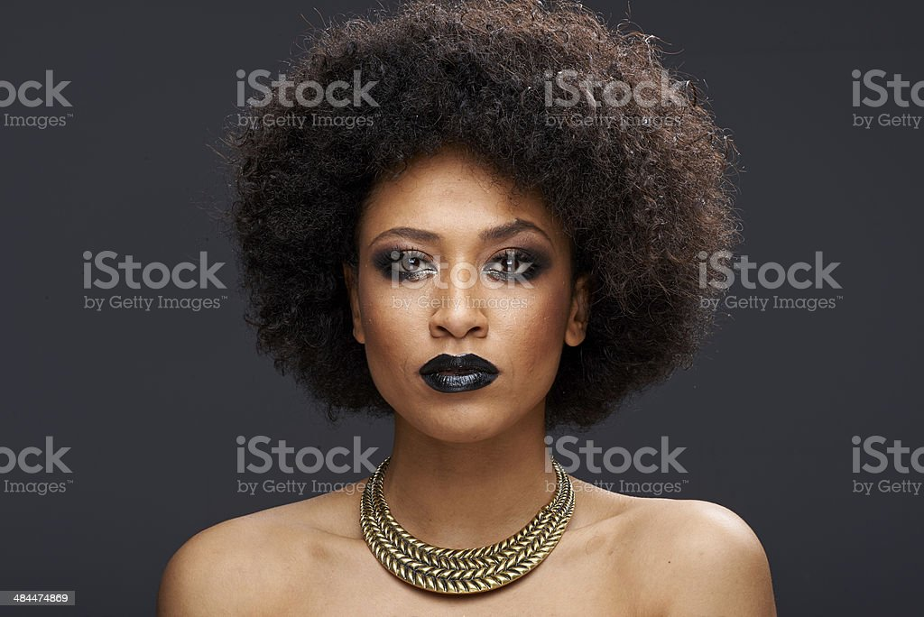 Beautiful exotic African American woman stock photo